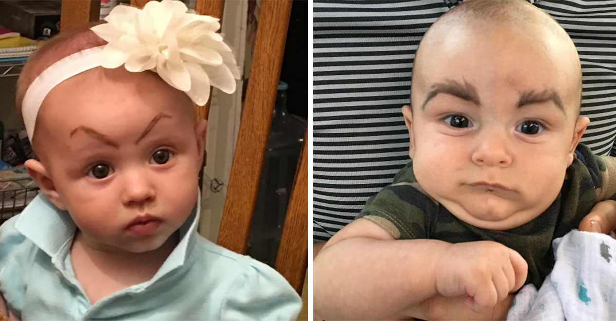 Parents Post Photos Of Their Babies With Drawn On Eyebrows And The