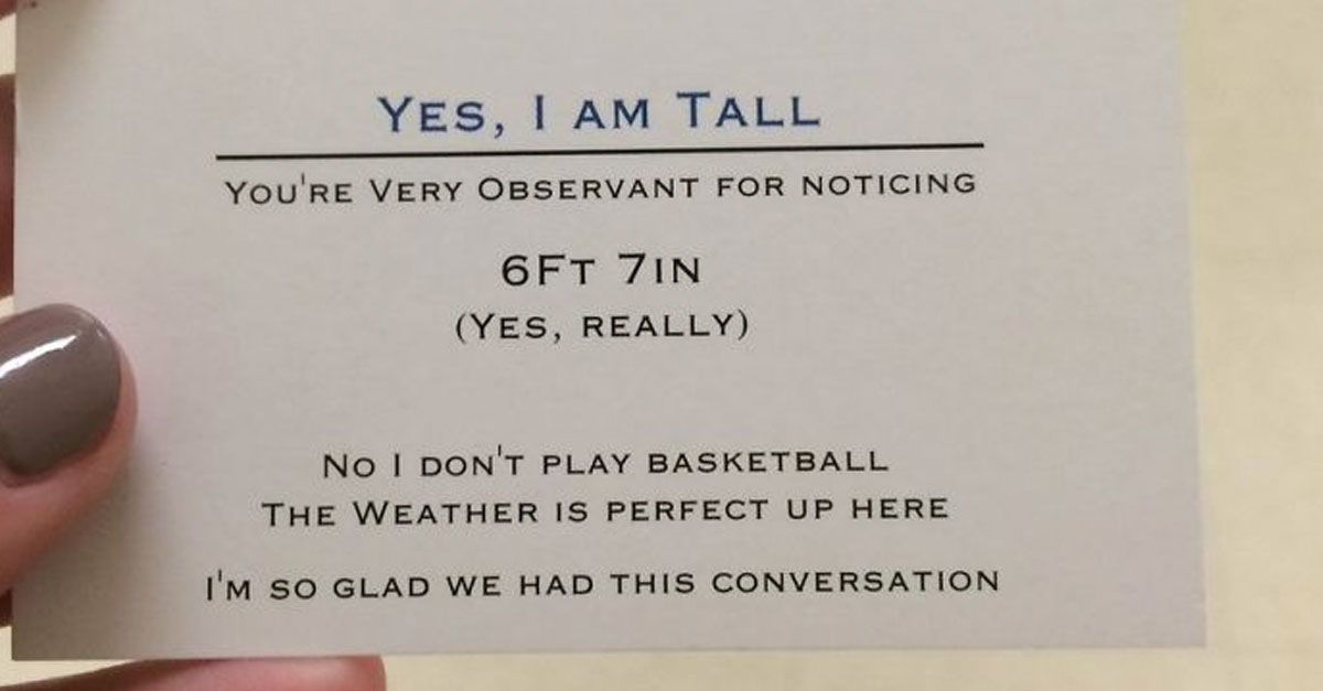 Tall teen hands out funny business cards to people who point out his tall teen hands out funny business cards to people who point out his height colourmoves