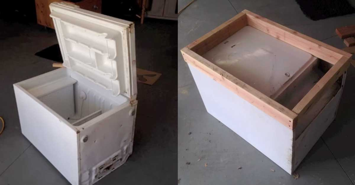 She Takes Her Broken Mini Fridge And Turns It Into Something EVERYONE  Should Have On Their Patio!