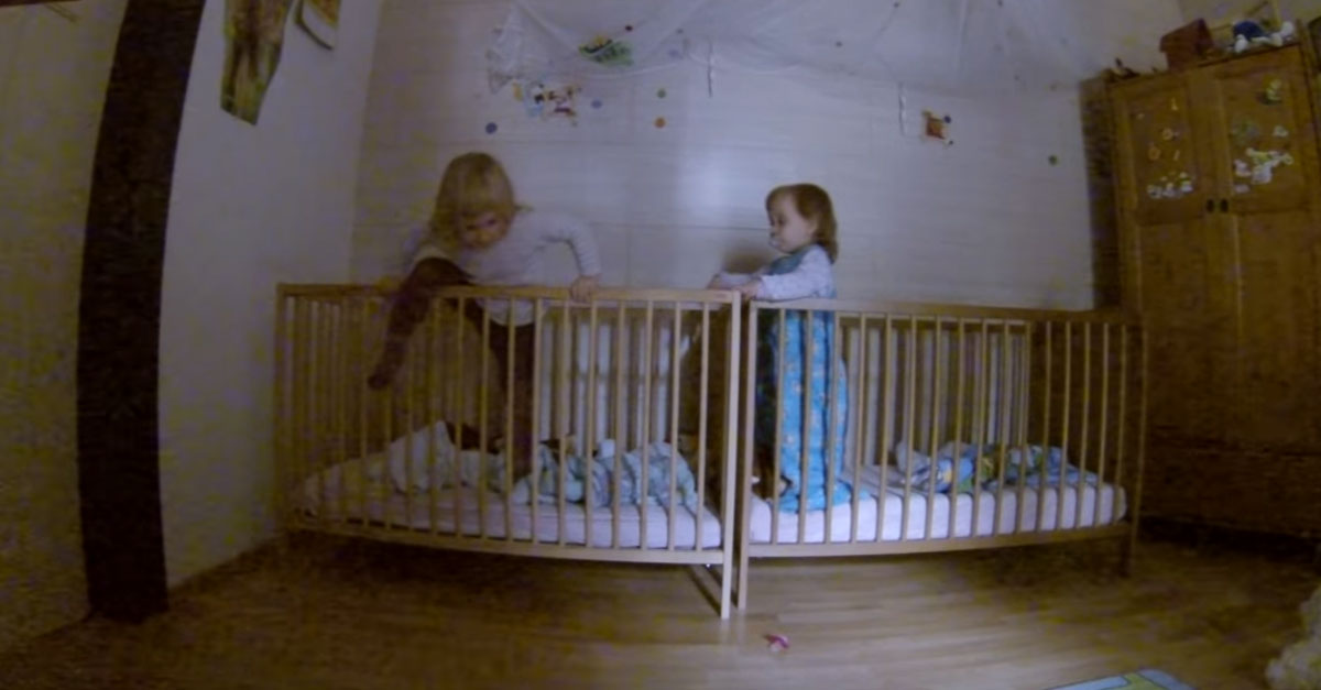 Suspicious Mom Sets Up a Camera In Her Babies' Room at Night and Discovers Adorable Footage
