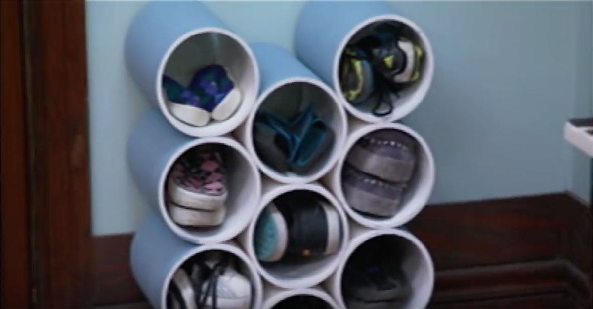 clear the clutter by your front door with this easy to make pvc pipe shoe rack. Black Bedroom Furniture Sets. Home Design Ideas