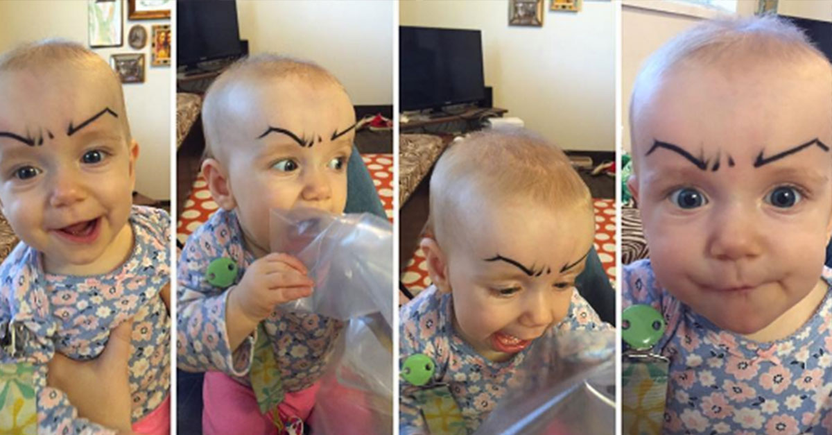 Parents Post Photos Of Their Babies With Drawn On Eyebrows And The Results Don't Disappoint