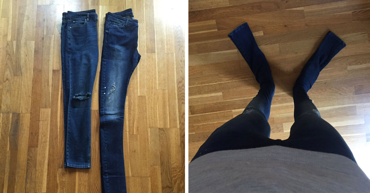 man orders jeans online that end up being way too long
