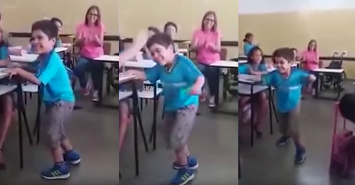 Entire Class Rejoices As 6-Year-Old Boy Walks Without His Wheelchair For The First Time