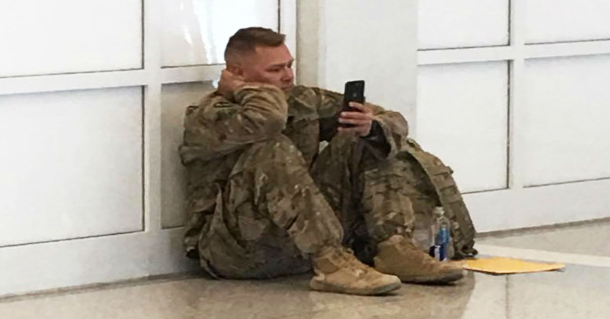 """Airport Workers See Solider Crying While On The Phone Then Hear """"Don't Let Him Board"""""""